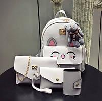 Стильный женский набор 4в1 с ушками и мордочкой аниме котика, рюкзак, клатч, космо и визитница