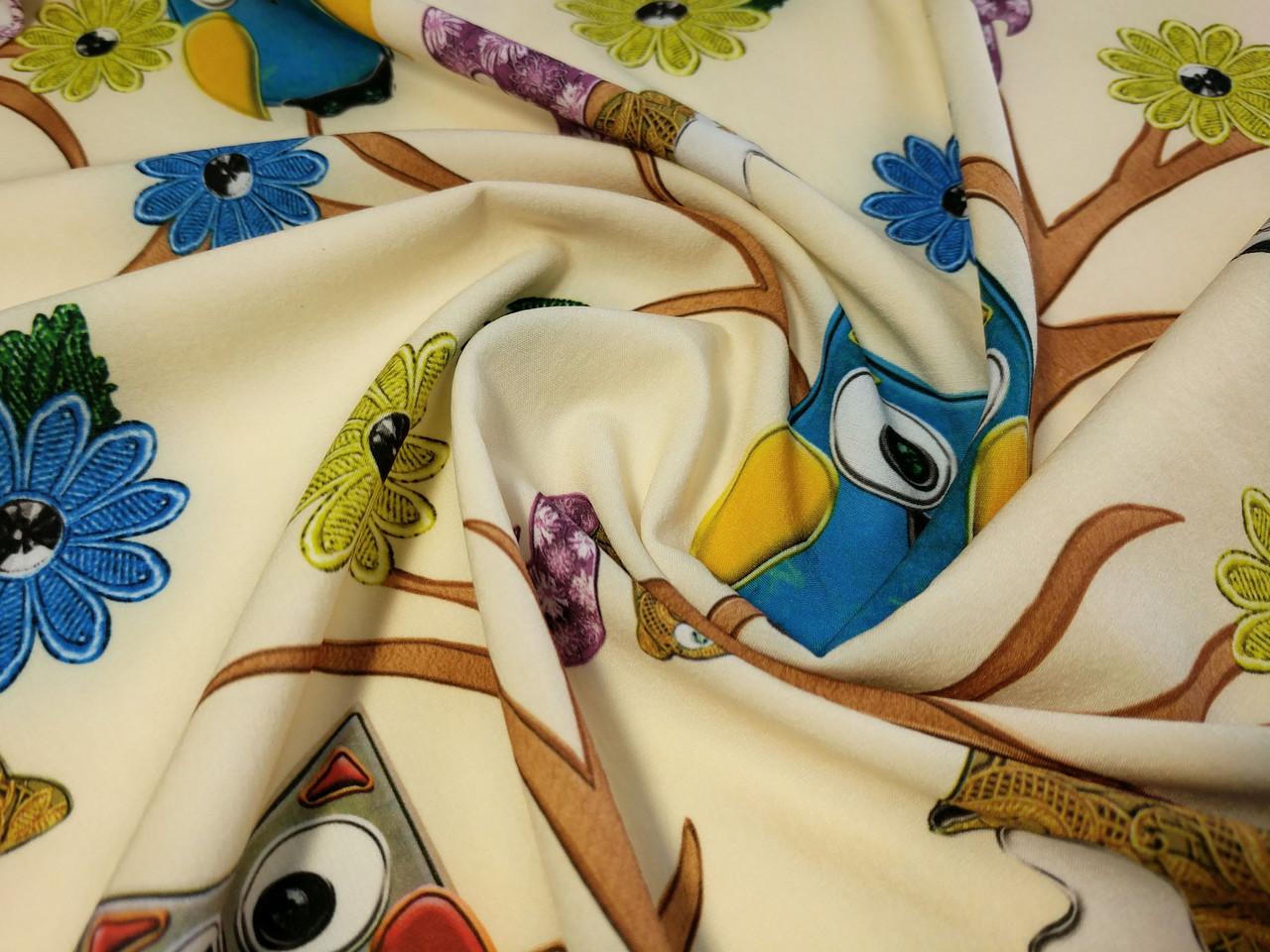 Вискоза софт сова на дереве, светлый бежевый