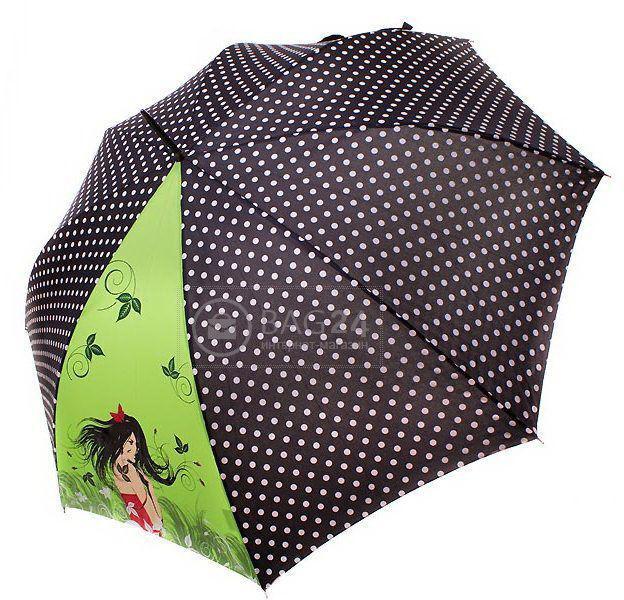 Черный с зеленой вставкой жеский зонт-трост, полуавтомат  DOPPLER DOP740865R-goroh, Салатовый