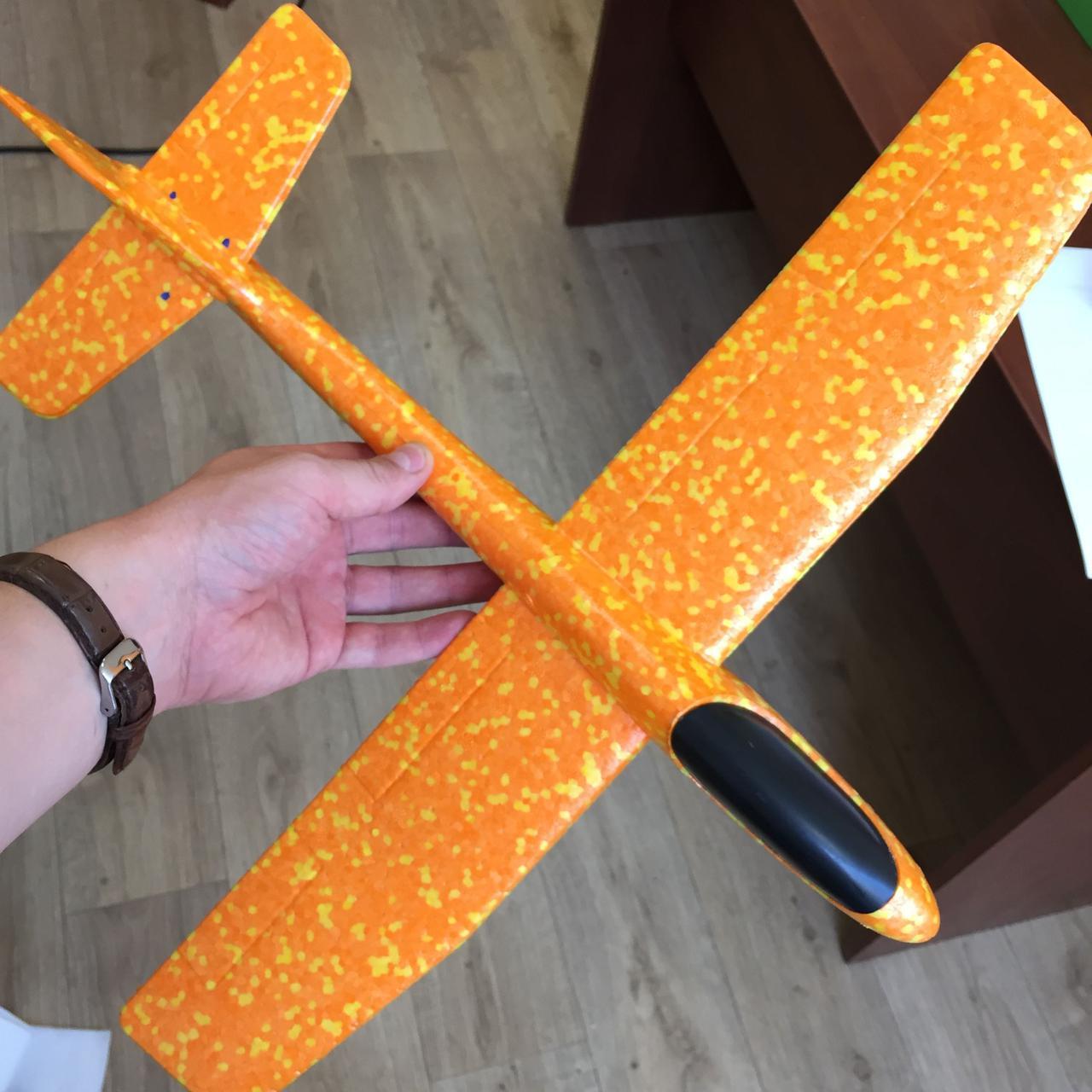 Метательный Самолетик планер Airplane из пенопласта оранжевый