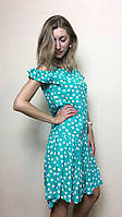 Мятное платье с ассиметричным низом Т152, фото 1