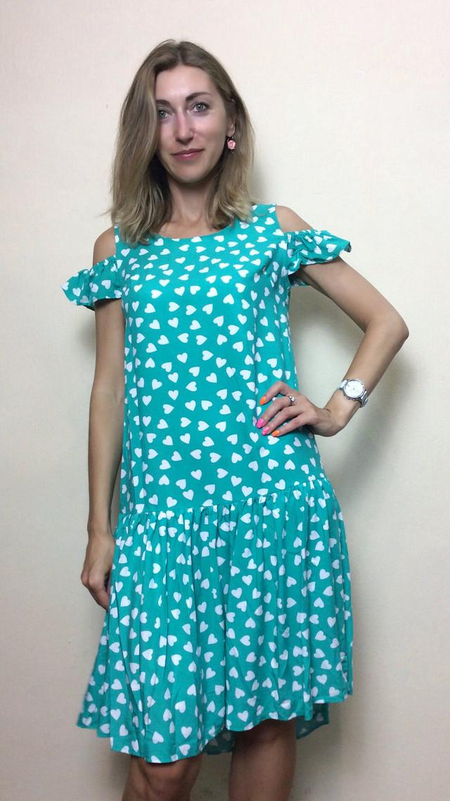 Мятное платье с ассиметричным низом Т152