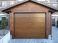 Автоматические ворота в гараж 3500X2500. Темный дуб,М-гофр. Двигатель, 2 пульта.