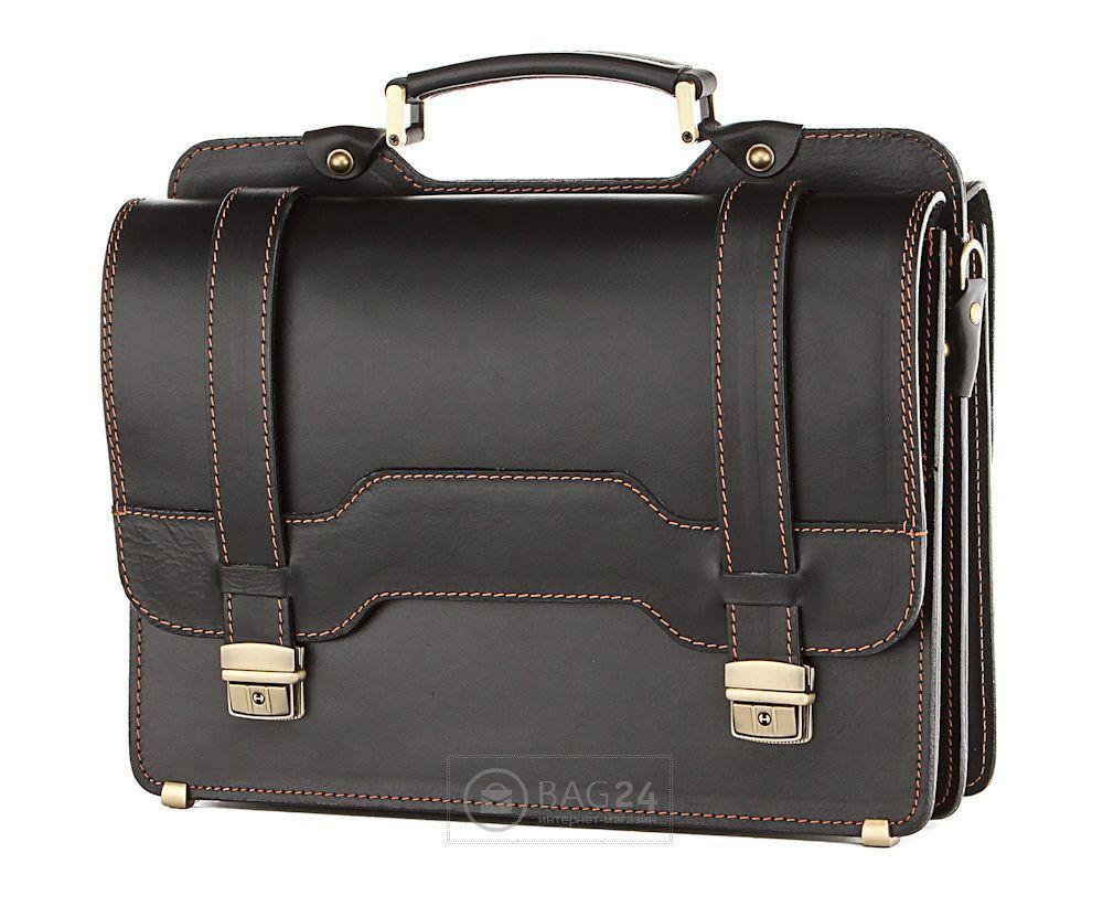 Стильный кожаный портфель Handmade, Черный
