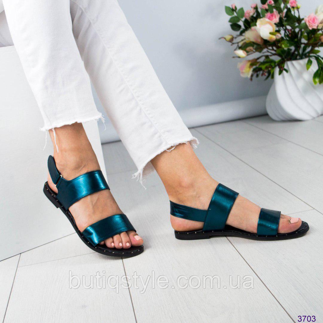 Женские сандалии изумрудные,натуральная кожа