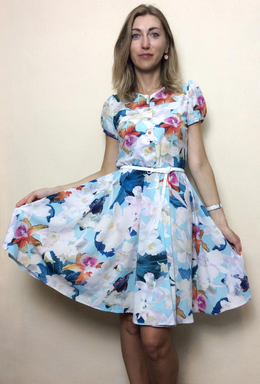 Платье летнее солнце-клёш из шифона П127