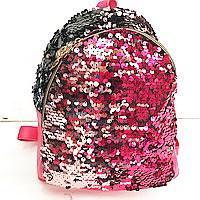 Рюкзаки с паетками и стразами ПАЕТКА (розов-серебро 2хсторон)25*26