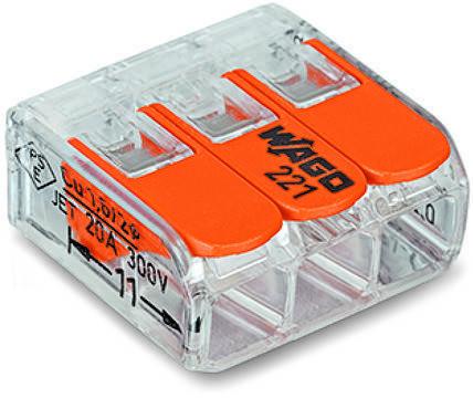 Клемма WAGO соединительная COMPACT 6 мм. кв для всех типов проводников 3-проводная с рычагами, фото 2