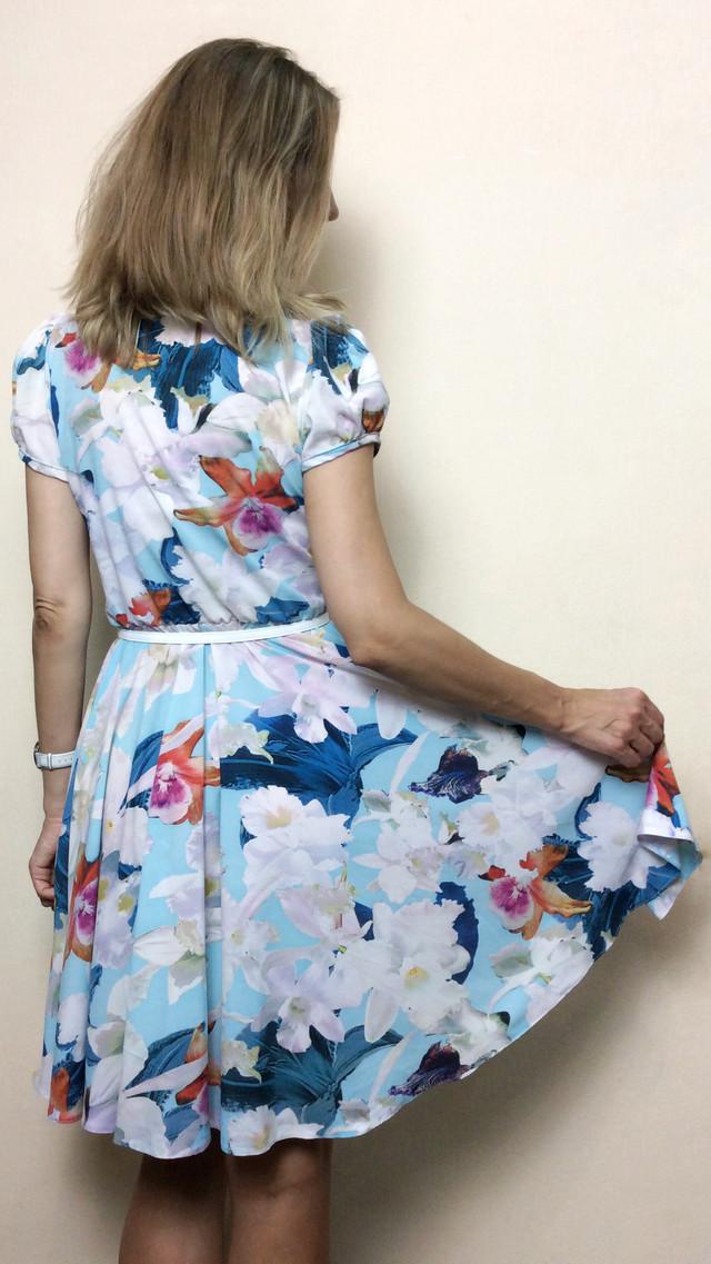 Платье летнее солнце-клёш из стрейч-шифона П127