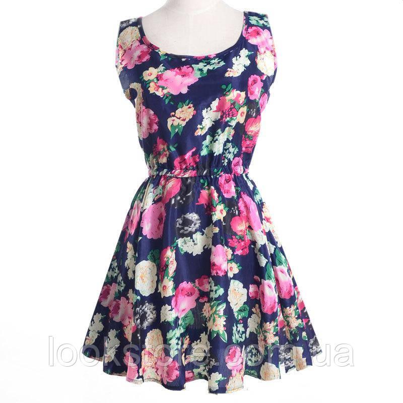 Платье женское с цветочным принтом летнее синее