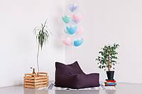 Фиолетовое бескаркасное кресло-лежак из микро-рогожки, фото 1