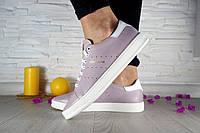 Женские кожаные кеды Adidas цвет пудра 10747