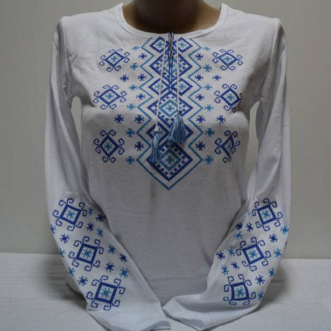 Украинская вышитая трикотажная футболка с длинным рукавом, фото 2
