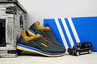 Подростковые кожаные кроссовки Adidas цвет Синий\Рыжие 10879