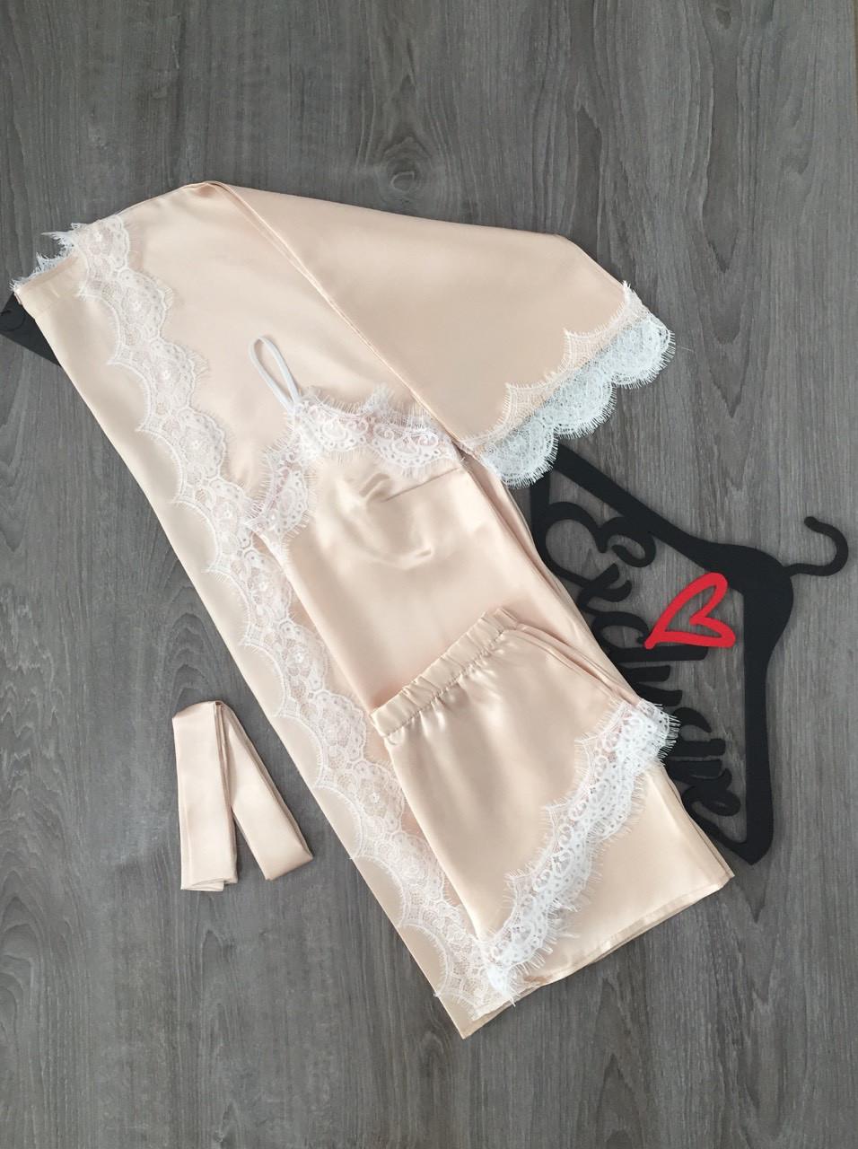 Нежный атласный комплект, женская одежда для дома и сна ТМ Exclusive