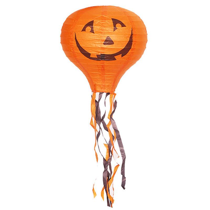 Декор подвесной Хэллоуин 30х70см оранжевый с тыквой