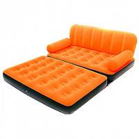 Надувной диван трансформер Bestway 67356 с насосом оранжевый
