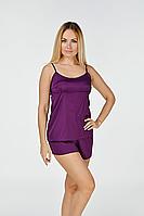 Шелковая пижама шорты + майка Пф08х Фиолетовый