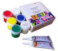 Краски акриловые для тканей Декола DECOLA набор из 8 предметов (краски, контуры, разбавитель)