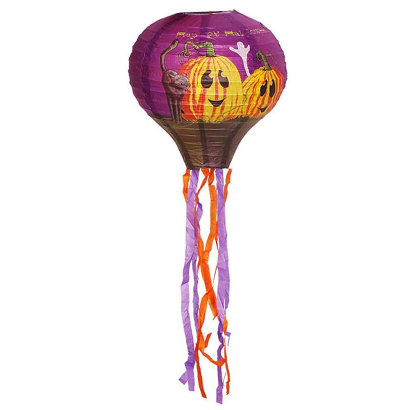Декор подвесной Хэллоуин 30х70см фиолетовый с тыквами