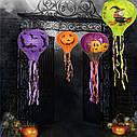 Декор подвесной Хэллоуин 30х70см фиолетовый с тыквами, фото 4