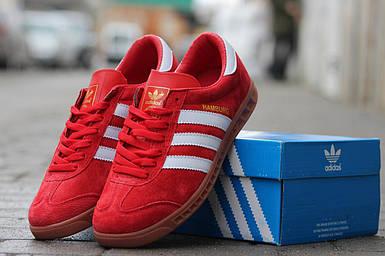 Кроссовки мужские Adidas Hamburg.Бордовые