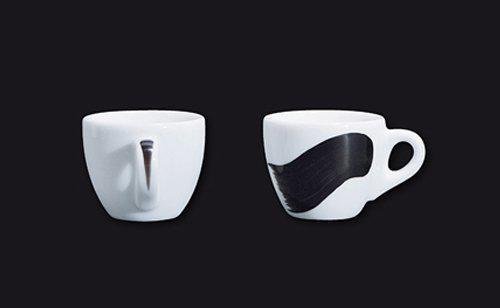 """Чашка 260 мл. фарфоровая, белая с черной полоской """"A"""" Black Verona/Palermo Millecolori, Ancap"""