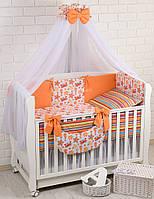 """Детская постель """"Водный мир"""" оранжевого цвета № 236 ."""