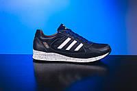 Подростковые кожаные кроссовки Adidas ZX Синие 85-s-s