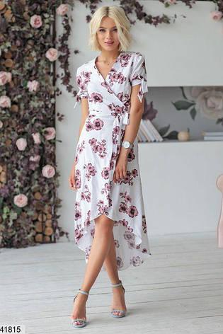 Новинка! шикарное женское белое в цветах летнее платье размеры:42-48, фото 2