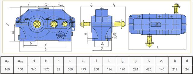 Габаритні розміри редуктора Ц2В-160 і 1Ц2У-160 креслення