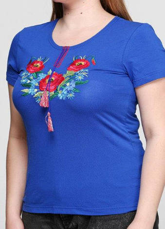 Синяя трикотажная вышитая футболка Разноцветные листочки, фото 2