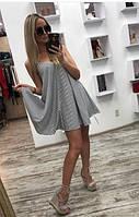 Женское льняное платье в мелкую полоску лето