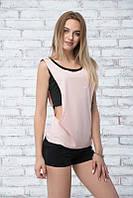 Спортивный костюм c шортами ~TRIO-SUM~ черный+розовый, фото 1