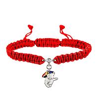 Браслет с cеребряным украшением Uma&Umi Мишка с зонтиком Красный (301100971)