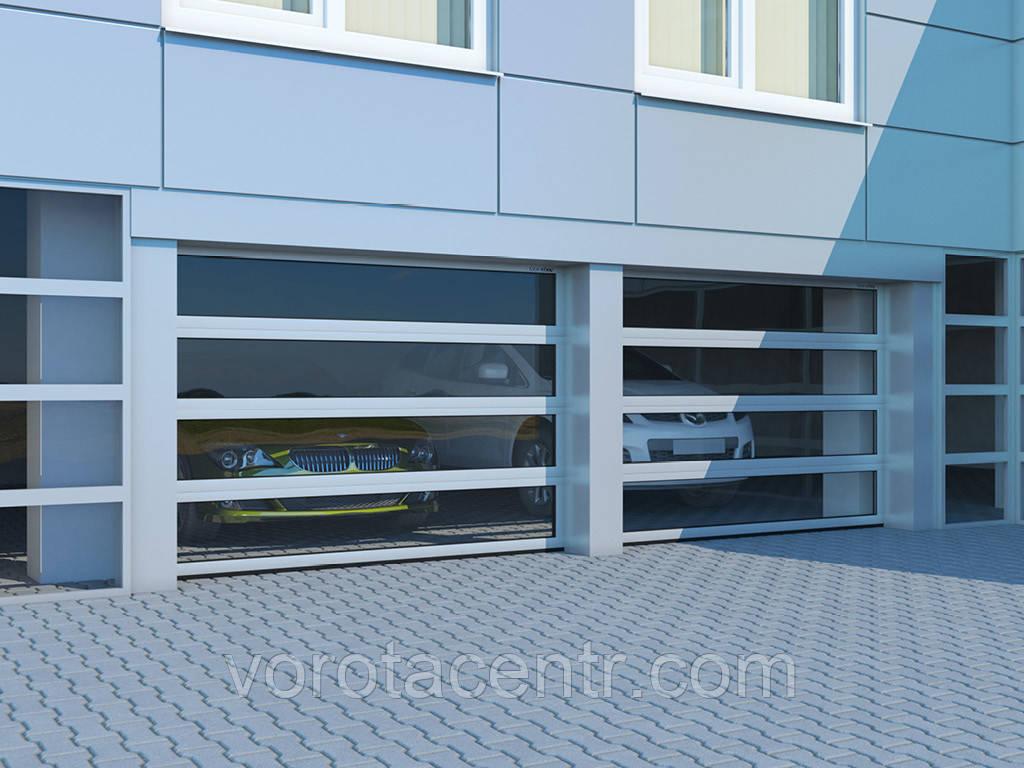 Промышленные секционные ворота с панорамным остеклением DoorHan ISD02