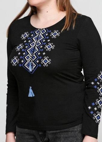 Вышиванка трикотажная женская черная Орнамент, фото 2