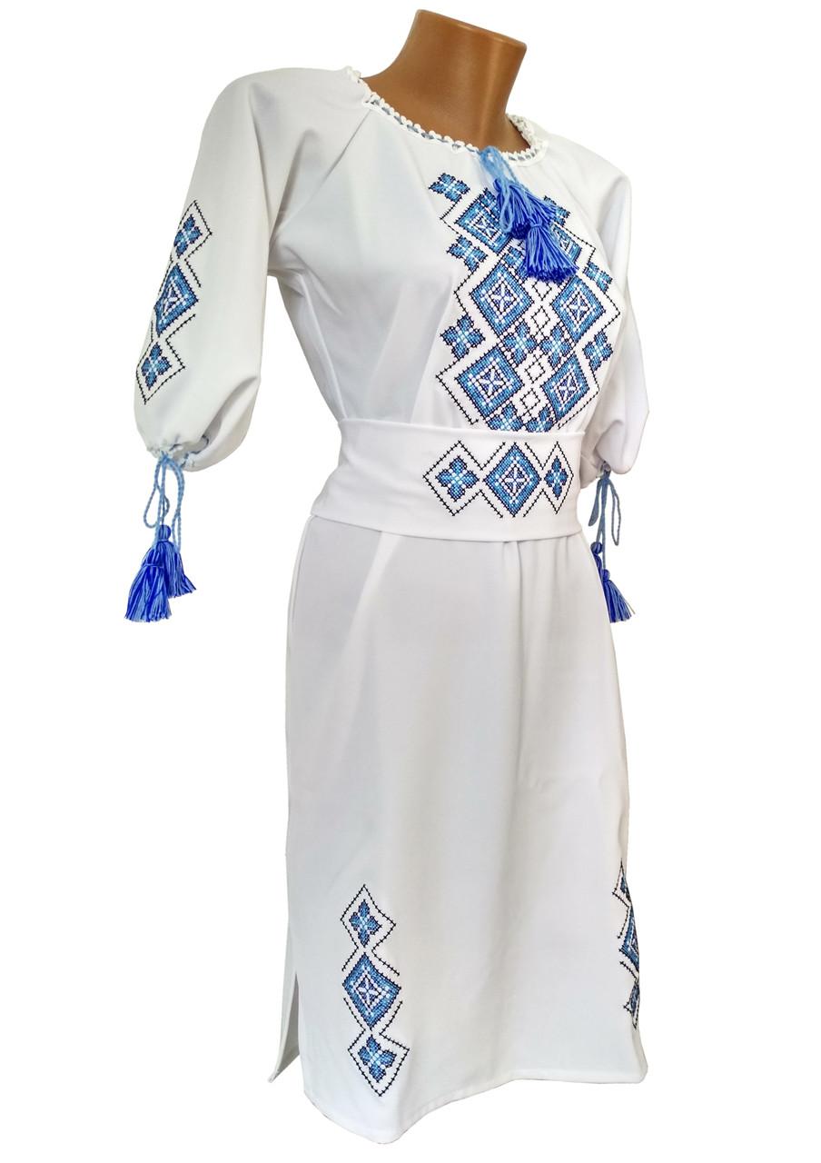 Жіноча вишита сукня середньої довжини у білому кольорі із геометричним орнаментом «Святкова»