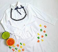 Блуза школьная, жабо, размер 116-134, белый