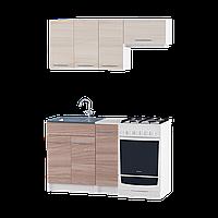 Кухня Эко набор 1.4 м Комби Ясень Шимо + Ясень Шимо темный, Без столешницы, Без мойки, Без сушки