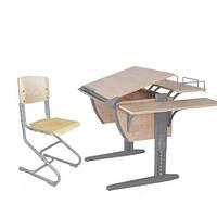 Комплект Детская парта растишка стол трансформер Demi СУТ14-02+СУТ01+ТУВ.02-01 (клен\серый)