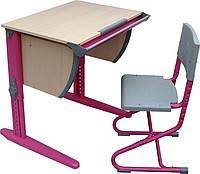 Комплект Детская парта растишка стол трансформер Demi СУТ15-00+СУТ01 (клен\розовый) со стулом