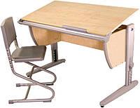 Комплект Детская парта растишка стол трансформер Demi СУТ15-00+СУТ01 (клен\серый) со стулом