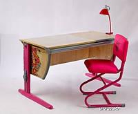 """Комплект Детская парта растишка стол трансформер Demi СУТ15-00+СУТ01 с рисунком """"Цветы"""" (клен\розовый) со стулом"""
