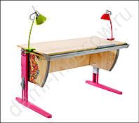 """Детская парта растишка стол трансформер Demi СУТ15-00 с рисунком """"Цветы"""" (клен\розовый) со стулом"""