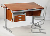 Детская парта растишка стол трансформер Demi СУТ15-04+СУТ01+ТСН.01-01 (кальвадос\серый) с навесным ящиком, задней приставкой и стулом