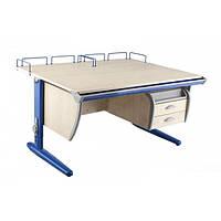 Детская парта растишка стол трансформер Demi СУТ15-04+СУТ01+ТСН.01-01 (клен\синий) с навесной полкой, задней приставкой и стулом