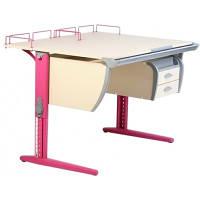 Детская парта растишка стол трансформер Demi СУТ15-04+СУТ01+ТСН.01-01 (клен\розовый) с навесным ящиком, задней приставкой и стулом