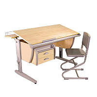 Комплект Детская парта растишка стол трансформер Demi СУТ15-04+СУТ01+ТСН.01-01 (клен\серый)