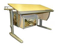 """Детская парта растишка стол трансформер Demi СУТ15-04+ТСН.01-01 с рисунком """"Фрегат"""" (клен\серый)"""